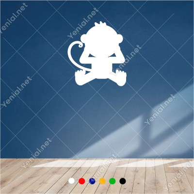 Ağlayan Eli Gözünde Maymun Yavrusu 55x60 cm Duvar Sticker