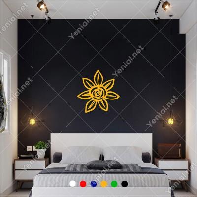 Altı Yapraklı Güle Benzer Şekilde Çiçek 60x60 cm Duvar Sticker