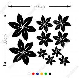 Altı Yapraklı Küçükten Büyüğe Çiçekler 60x50 Duvar Sticker
