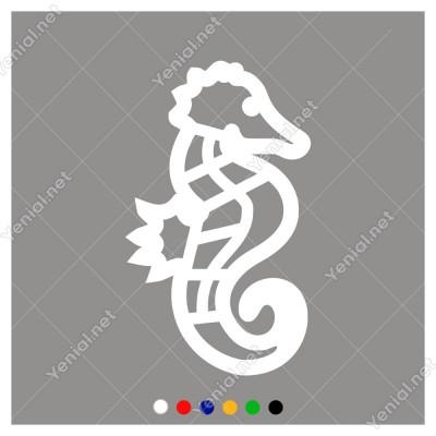 Arkasında Kurdela Bulunan Deniz Atı Sticker