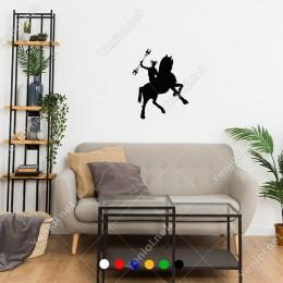 At Üzerinde Elinde Yabası İle Duran Zebani Sticker