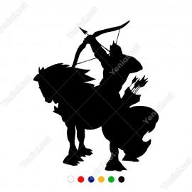 At Üzerinde Öne Doğru Ok Atan Savaşcı Sticker