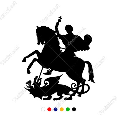 Atın Üzerinde Kılıcı İle Ejdarha Avlayan Adam Sticker