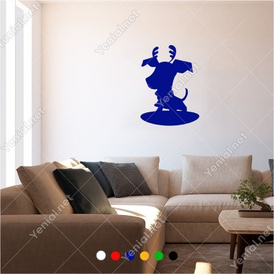 Başında Boynuzu Olan Komik Yavru Köpek 30x60 cm Duvar Sticker