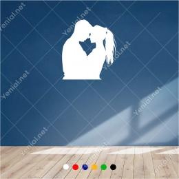 Birbirine Çok Yakın Duran Aşık Çift 55x60 cm Duvar Sticker