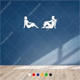 Birbirine Doğru Dönük Kadın ve Erkek 60x20 cm Duvar Sticker