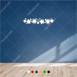 Büyüklü Küçüklü Yıldızlar Bordür Süsleme 60x10 cm Duvar Sticker