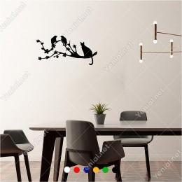 Dalda Kuşları Avlamaya Çalışan Kedi 60x30 cm Duvar Sticker