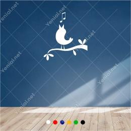 Dalda Şarkı Söyleyen Sevimli Kuş 55x60 cm Duvar Sticker