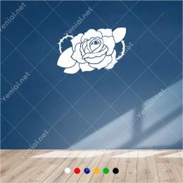 Detaylı Dikenli Sarmallı Gül Motifi 60x40 cm Duvar Sticker