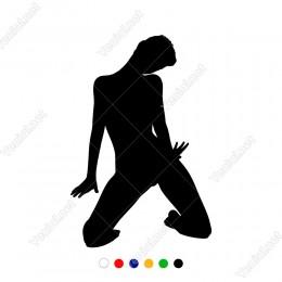 Dizleri Üzerinde Seksi Şekilde Duran Kadın Sticker