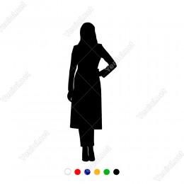 Eli Belinde Ayakta Bekleyen Kadın Sticker