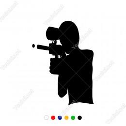 Elinde Oyuncak Boya Silahı Bulunan Adam Sticker
