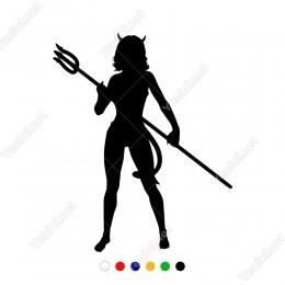 Elinde Yabası İle Bekleyen Kuruklu Şeytan Melek Sticker