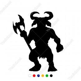 Elinde Yabası İle Bekleyen Şeytan Zebani Sticker