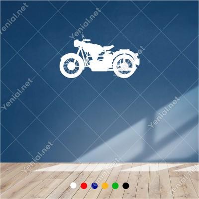 Eski Klasik Tarihi Motor 60x35 cm Duvar Sticker