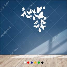 Farklı Ebat ve Çeşitte Cins'te Kelebekler 60x60 cm Duvar Sticker