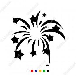 Havada Patlayan Yıldızlar Uçuşan Havai Fişek Sticker