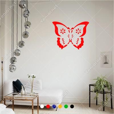 İçinde Çiçek Deseni Olan Kelebek 60x45 cm Duvar Sticker