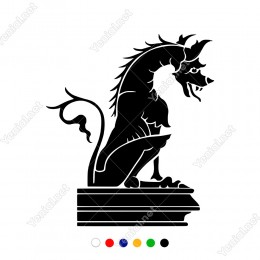 Kaidenin Üzerinde Duran Ejderha Heykeli Sticker