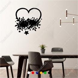 Kalp Şekli Yıldız ve Çiçek Süslemesi 60x60 cm Duvar Sticker