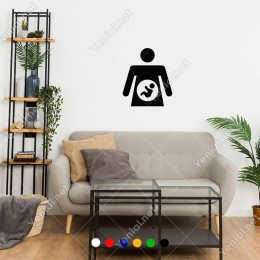 Karnında Bebek Olan Hamile Kadın Sticker