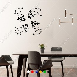 Kelebek Şeklinde Oluşturulmuş Kelebekler 60x60 cm Duvar Sticker