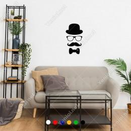 Pala Bıyıklı Papyonlu Gözlüklü Şapkalı Adam Sticker