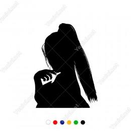 Saçları Dağınık Duran Seksi Kadın Sticker