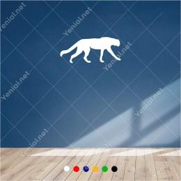 Sağa Doğru Yavaşca İlerleyen Büyük Kedi 60x25 cm Duvar Sticker