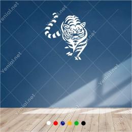 Sessizce Avına Yaklaşan Çizgili Aslan 53x60 cm Duvar Sticker