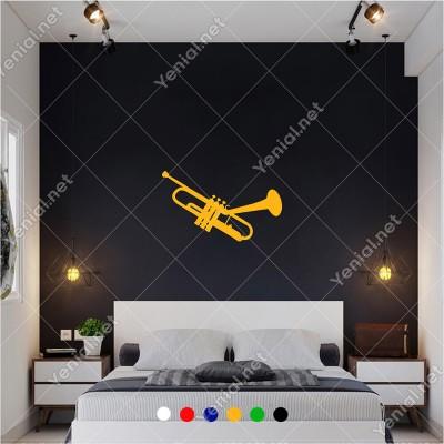 Üflemeli Çalgılardan Trompet 60x35 cm Duvar Sticker