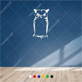 Uzun Uzun Düşünerek Bakan Baykuş 30x60 cm Duvar Sticker