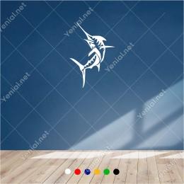 Yukarıya Doğru Yüzen Kılıçbalığı 40x60 cm Duvar Sticker Yapıştırma