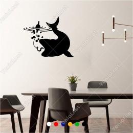 Zıpkındaki Yemi Solucanı Yemek Üzere Balık 60x50 cm Duvar Sticker