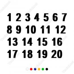 1 Den 20 Ye Kadar Rakam Sayı Sticker Yapıştırma