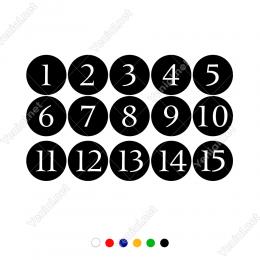 1 Den 15 Kadar Yuvarlağın İçinde Rakam Sayı Sticker Yapıştırma