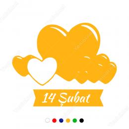 14 şubat Sevgililer Günü Yazısı Sticker Yapıştırma