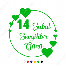 14 Şubat Sevgililer Günü Çember Üstünde Kalp 110x110cm Sticker
