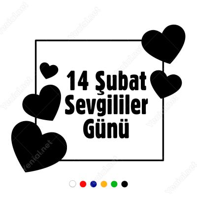 14 şubat Sevgililer Günü Çok Kalpli Sticker