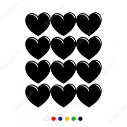 14 Şubat Sevgililer Günü Kalp 12 Adet (5cm) Sticker Yapıştırma