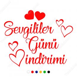 14 Şubat Sevgililer Günü Kalpli İndirimi 120x80cm Sticker