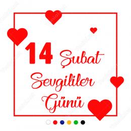 14 Şubat Sevgililer Günü Kare Üstünde Kalp 110x110cm Sticker