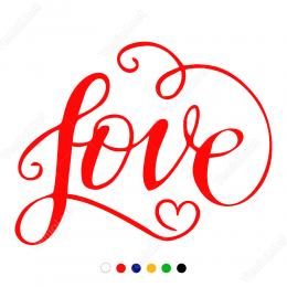 14 Şubat Sevgililer Günü Love Yazısı 110x110cm Sticker