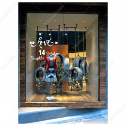 14 Şubat Sevgililer Günü Oklu Love Yazısı 110x110cm Sticker