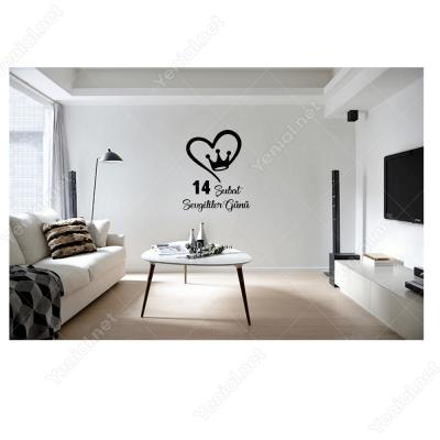14 Şubat Sevgililer Günü Taçlı Kalp 110x110cm Sticker