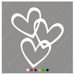 14 Şubat Sevgililer Günü Üç Kalp 110x110cm Sticker