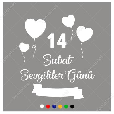 14 Şubat Sevgililer Günü Uçuşan Kalpler 110x110cm Sticker
