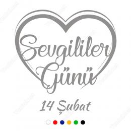 14 Şubat Sevgililer Günü Yazısı Kalpli 100x100cm Sticker