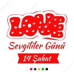 14 Şubat Sevgililer Günü Yazısı (LOVE - AŞK) 100x100cm Sticker